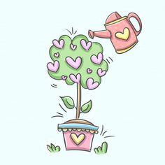 Descubre miles de vectores gratis y libres de derechos en Freepik Art Drawings For Kids, Easy Drawings, Cartoon Styles, Cute Cartoon, Ribbon Decorations, Envelope Art, Cute Doodles, Art Plastique, Watering Can