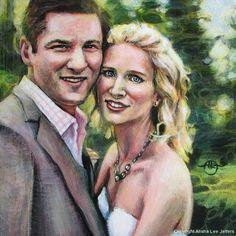 "(c) Alisha Lee Jeffers. ""M&L Wedding."" Acrylic on birch. 8""x 8"""