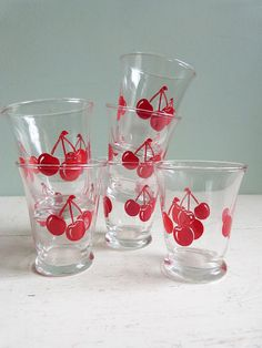 Vintage Libbey Juice Glasses Red Cherries by RichardandRuthie