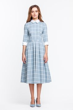 2233 Платье голубое в белую клетку, с белым воротником и манжетами купить в Украине, цена в каталоге интернет-магазина брендовой одежды Musthave