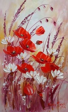 Red Poppies Meadow IMPASTO Original Oil Painting White Daisies Flowers…