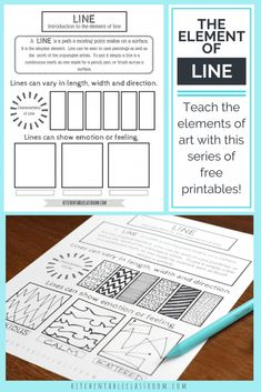 Line in art is an fun and easy place to start teaching art for kids.Teach the element of line & all the elements of art with this series of free printables.