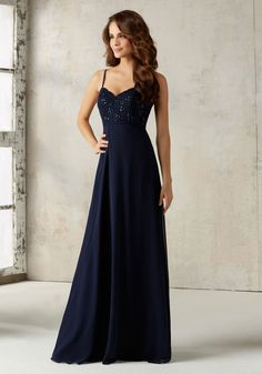 Morilee by Madeline Gardner Bridesmaids Style 21526 | Delicate Beading Beautifully Accentuates the Lace Bodice on this A-Line Chiffon Bridesmaids Dress. Zipper Back. Shown in Navy