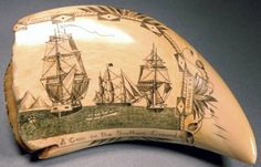 Scrimshaw on whale's tooth