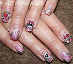 A pirates heart... I was featured in Nails Magazine showing these nails!  Done at www.allaboutnails.org