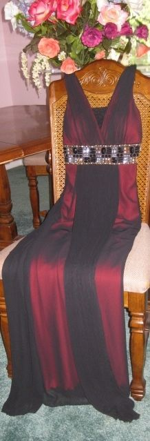 Stunning HandTailored Black Over Red Chiffon Gold Black Silver Full Length Gown