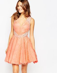 Forever+Unique+Veronica+Lace+Skater+Dress+with+Embellishment