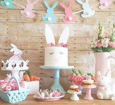 Cute party by perfect for a spring birthday or baby shower. Easter Birthday Party, First Birthday Themes, Bunny Birthday, 1st Birthday Girls, 1st Birthday Parties, Cake Birthday, Panda Birthday, Diy Birthday, Birthday Ideas