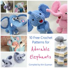 Shown: 1. Little Elephant Curtain Tie Back by Rachel Choi 2. Little Bitty Elephant by Sharon Ojala 3. Little Bigfoot Elephant by Sharon Ojala 4. Cute Elephant from Amigurumi Fair 5. Elephant Hat from Jenny and Teddy 6. Ellie Elephant Booties from Hopeful Honey 7. Ella the Elepha