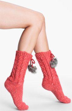 Make + Model Pompom Slipper Socks available at #Nordstrom  Cozy Coral!