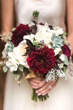 burgundy dahlias and blush roses fall wedding bouquet #weddingbouquets #SmallWeddingIdeas