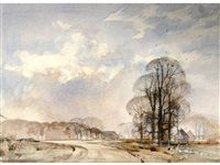 View A winter sky by Rowland Hilder on artnet. Browse upcoming and past auction lots by Rowland Hilder. Watercolor Drawing, Watercolor Landscape, Painting & Drawing, Landscape Paintings, Watercolor Techniques, Painting Techniques, Nature Sketch, Winter Sky, Impressionist Art