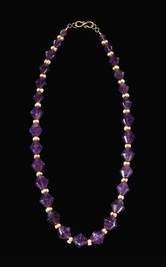 A GREEK AMETHYST AND GOLD BEAD NECKLACE | HELLENISTIC PERIOD, CIRCA 2ND-1ST CENTURY B.C. | 2nd Century B.C., Ancient Art & Antiquities | Christie's Purple Necklace, Amethyst Necklace, Beaded Necklace, Antique Items, Antique Jewelry, Ancient Art, Ancient Greek, Hellenistic Period, Greek Jewelry