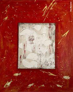 Elisa Marianini, «L'albero della neve fiorito di stelle rosse», Encausto, colori acrilici e metallici, 100 x 80, 2011 Metallica, Painting, Snow, Painting Art, Paintings, Painted Canvas, Drawings