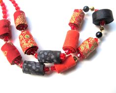 Japanese style fabric necklace, red black golden fabric necklace, exotic artizanmade fabric necklace by Gilgulim on Etsy