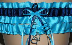 Turquoise and Navy Blue Wedding Garter Set by WeddingGarterStore, $15.99