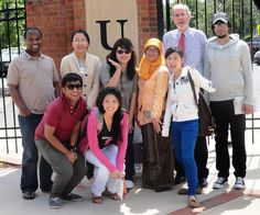 Dr. Robertson spends time with international students and staff