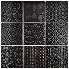 Shower floor Merola Tile Spirit Black in. x 6 mm Porcelain Mosaic - The Home Depot Mosaic Tiles, Wall Tiles, Ceiling Tiles, Tiling, Mosaics, Home Depot, Black Tiles, Tile Projects, Shower Floor