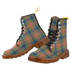 Men's Lace Up Boots Tartan Canvas Martin Boots Combat Ankle Booties Shoes Clan Buchanan, Clan Macdonald, Campbell Clan, Clan Macleod, Floral Combat Boots, Mens Lace Up Boots, Tartan Fashion, Martin Boots, Boots For Sale