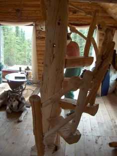Perfect stairs for the cabin. Safer then a ladder, cheaper then buying a metal spiral staircase, and very cute cabinesque!