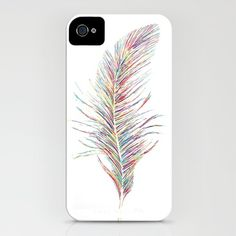 Rainbow Feather  iPhone Case by Jo Woolley - $35.00
