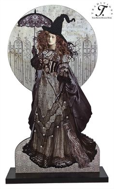 Vintage Halloween Decor - BLACK MAGIC WOMAN WITH PARASOL DISPLAY BOARD