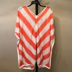 """✨👑4/19👑✨ NWT Striped coral & white poncho Open sides. Length:26""""-29"""".  dxthtwqa Chico's Tops"""