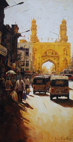 Artflute - Buy Limited Edition Prints of Original Contemporary Art Watercolor Landscape Paintings, Landscape Drawings, Amazon Wall Art, Indian Art Paintings, Indian Artwork, Oil Paintings, Pakistan Art, Cityscape Drawing, Composition Painting