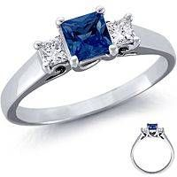full carat sapphire ring princess or rectangle cut | sapphire ring, diamond sapphire ring