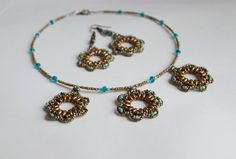 Beaded necklace and earrings by NataliesBijoux on Etsy