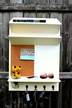 Mason Jar Mail Holder with Cork, Dry Erase, Shelf & Key Hooks - MADE TO ORDER