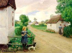 Village Street with Girl ~ Hans Andersen Brendekilde ~ (Danish: 1857-1942)