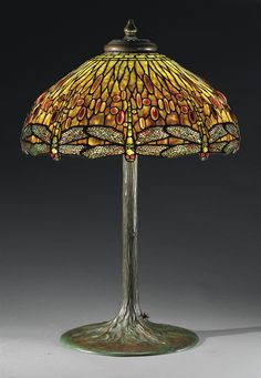 "** Tiffany Studios, New York, Favrile Glass and Patinated Bronze "" Dragon Fly"" Lamp."