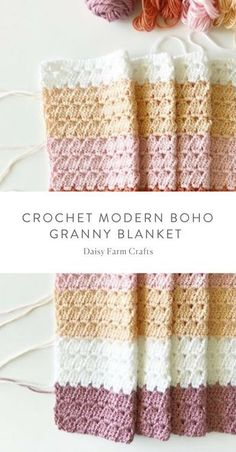 Free Pattern – Crochet Modern Boho Granny Blanket Free Pattern – Crochet Modern Boho Granny Blanket Related Free Crochet Knee High Socks Easy Crochet Stitches You Can Use for Any ProjectEasiest Crochet. Crochet Afghans, Afghan Crochet Patterns, Baby Blanket Crochet, Crochet Stitches, Crochet Blankets, Modern Crochet Blanket, Modern Crochet Patterns, Crochet Blanket Tutorial, Blanket Yarn