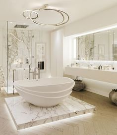 a marble shower and a bathtub platform with additional lights for a chic feel