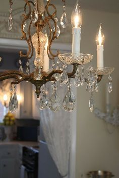 """blysium: """" charmingages:girlyme:Crystal Chandelier (by Cindy) """""""" """" Shabby Chic Lighting, Shabby Chic Chandelier, French Chandelier, Vintage Chandelier, Vintage Lighting, Cool Lighting, Chandelier Lighting, Crystal Chandeliers, Drum Room"""