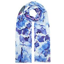 John Lewis Wool and Silk Blend Hydrangea Floral Scarf, Bright Blue
