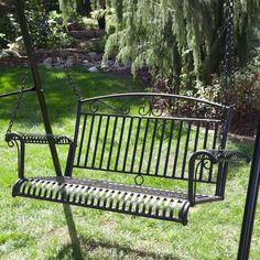 International Caravan Tropico 4-ft. Wrought Iron Curved Back Porch Swing