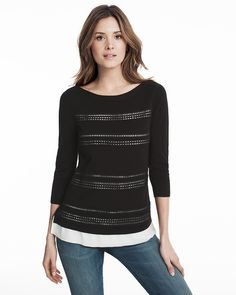 Black Embroidered Pullover Sweater with Contrast Woven Hem