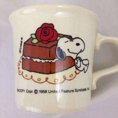 Vintage Snoopy Peanuts Coffee Mug Taylor Cake with Rose 1958 | eBay