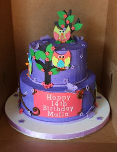 This was my Icing Smiles cake. It is an organization for children with illness to have a special custom cake for their birthday. I was so honored to make this for a sweet girl who had cancer. She loves owls.