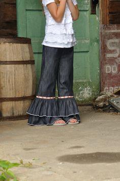 Hippy Chick double ruffle denims Girls ruffle pants by emmifaye