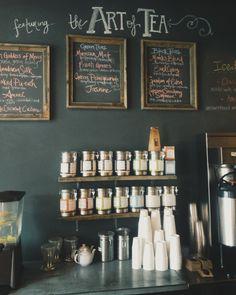 idea for our coffee/tea bar! Coffee Shop Design, Cafe Design, Cafe Coton, Pause Café, Buffet, Restaurants, Cafe Shop, Tea Art, Cafe Restaurant