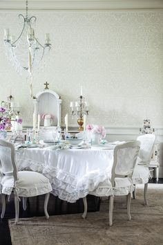 A little bit Marie Antoinette and a little bit traditional, adding up to complete romance. Darcy Chairs and Petticoat tablecloth from Shabby Chic stores and www.shabbychic.com #shabbychic