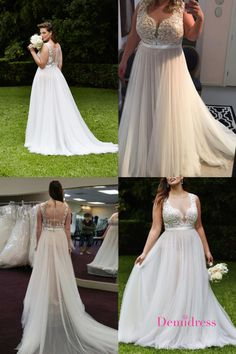 2018 Plus Size Ivory Prom Dress Tulle Cheap Long Prom Dress #VB2152 #demidress #wedding #weddingdress #weddingdresses  #custom #customweddingdress #2020weddingdress #beachwedding #plussize #plussizeweddingdress #tulle