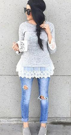 Delicate lace patterns were seen all over the runway this year! The Grey Swan Top features round neck, delicate lace hem at sleeves and bottom. Sweet girl next door is coming at CUPSHE.COM