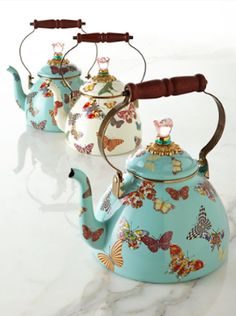 vintage butterfly print teapots