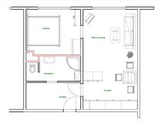 Nový půdorys bytu 2 + kk Minecraft, Sims, Lab, New Homes, Floor Plans, House, Projects, Home, Mantle