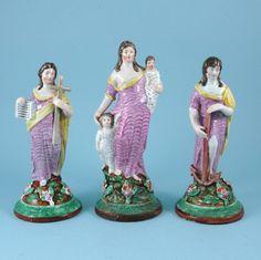 Sherratt Style - Faith, Hope and Charity figures - Staffordshire c. 1830 -  Pre-Victorian Staffordshire