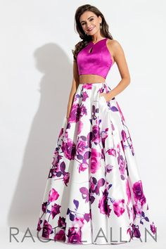 This floral two piece has a high neck sleek top along with a detailed Mikado skirt, and it's at Rsvp Prom and Pageant, your source of the HOTTEST Prom and Pageant Dresses!